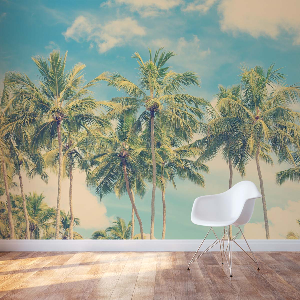 Marvelous Thailand Pier Sunset Wall Mural Vintage Summer Palms ... Design Ideas