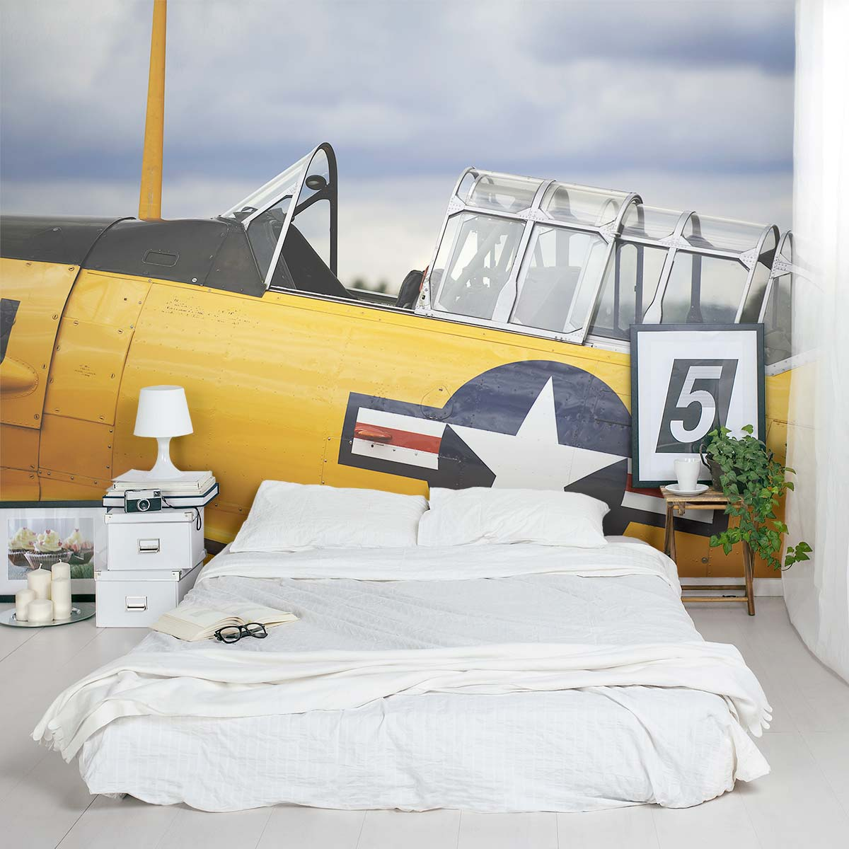 Vintage yellow plane wall mural for Airplane wall mural