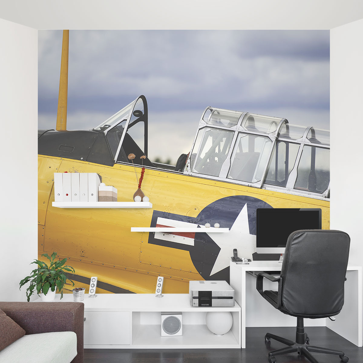 Vintage yellow plane wall mural for Aeroplane wall mural