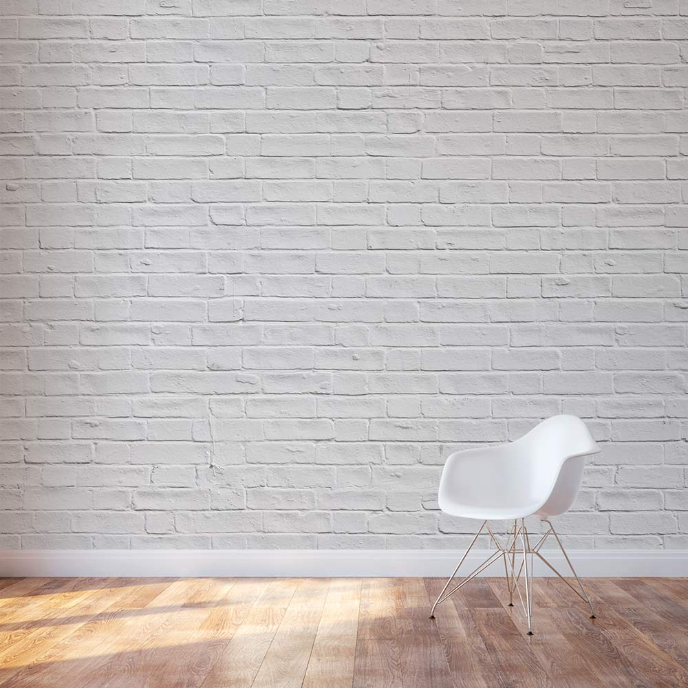 White brick wall mural for Brick wall mural