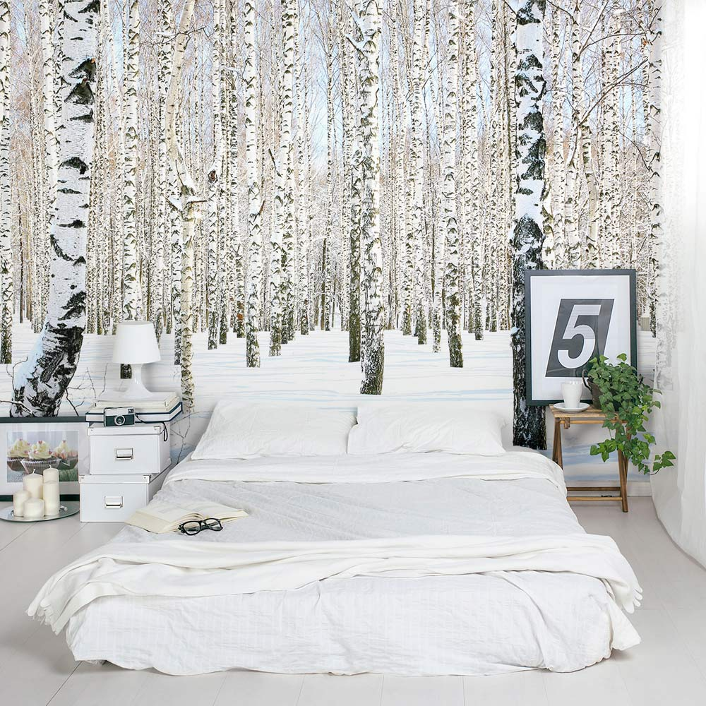 Birch tree wall mural winter birch tree wallpaper for Winter wall murals