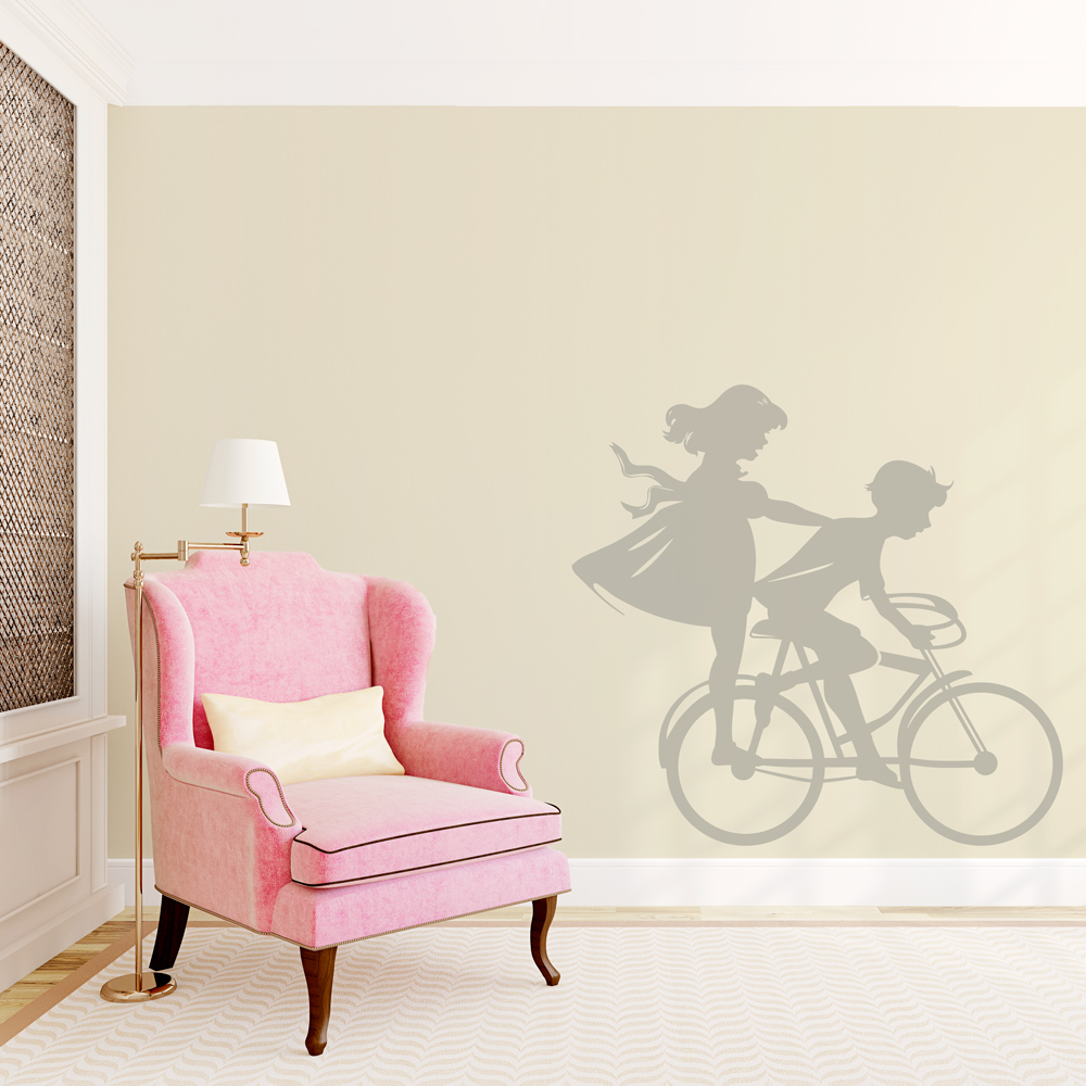 Boy And Girl On Bike Wall Decal ... Part 76