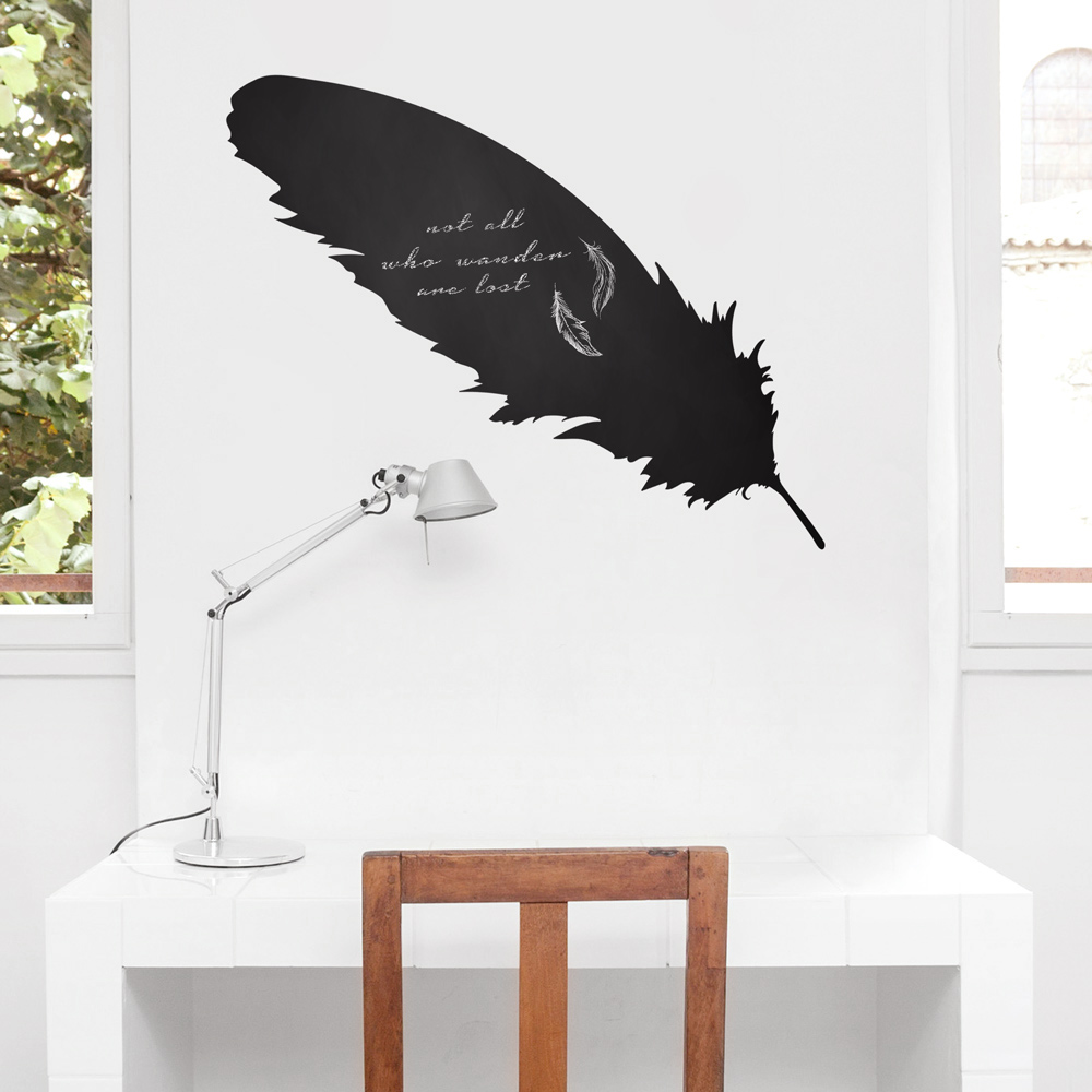 Feather chalkboard wall decal amipublicfo Images
