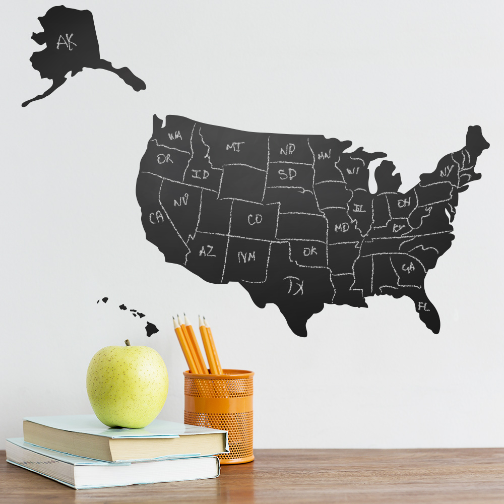 US Map Chalkboard Wall Decal - Us map chalkboard