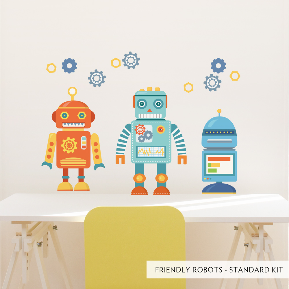 Friendly robots printed wall decal standard friendly robots printed wall decal amipublicfo Gallery