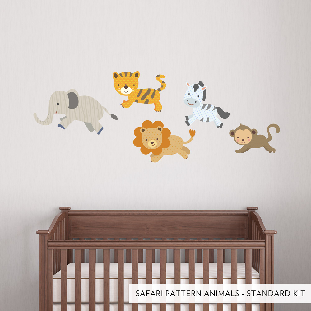 safari pattern animals printed wall decal. Black Bedroom Furniture Sets. Home Design Ideas