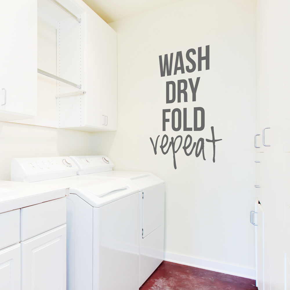 Laundry Wall Decals Wash Dry Fold Repeat Wall Quote Decal