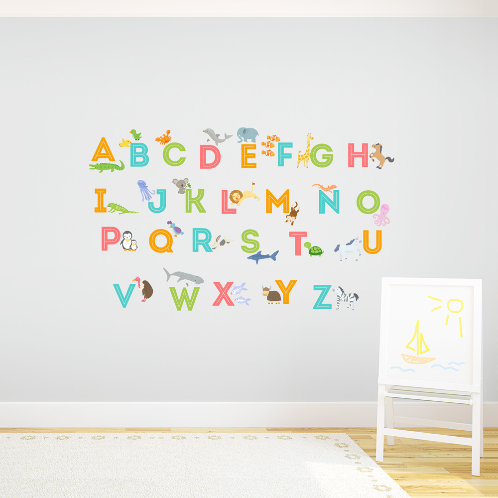 Alphabet wall decals pictures to pin on pinterest pinsdaddy for Alphabet wall mural