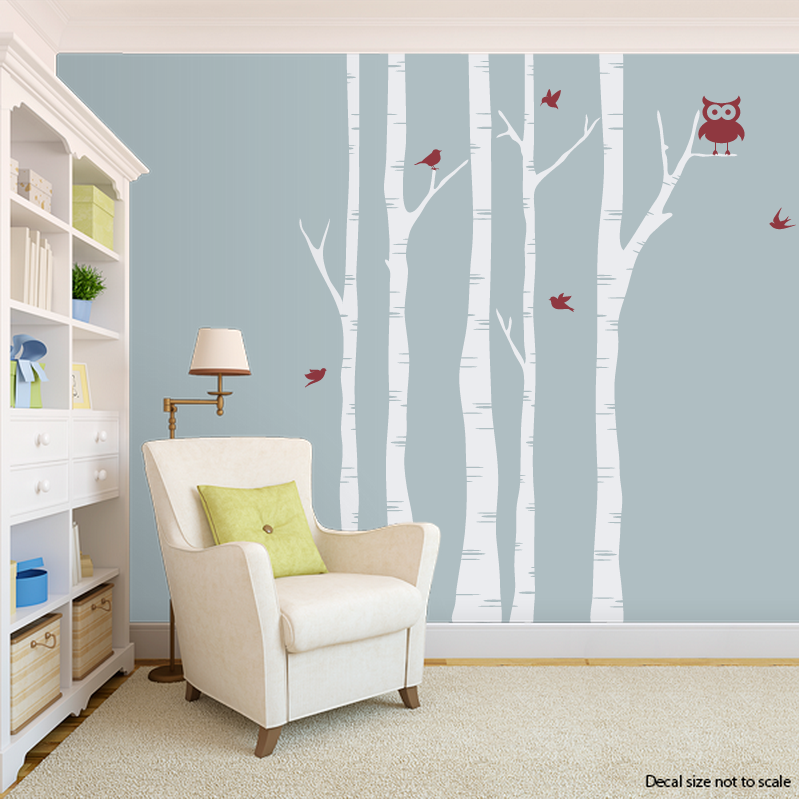 Clearance 72 White Birch Trees With Dark Red Birds Wall