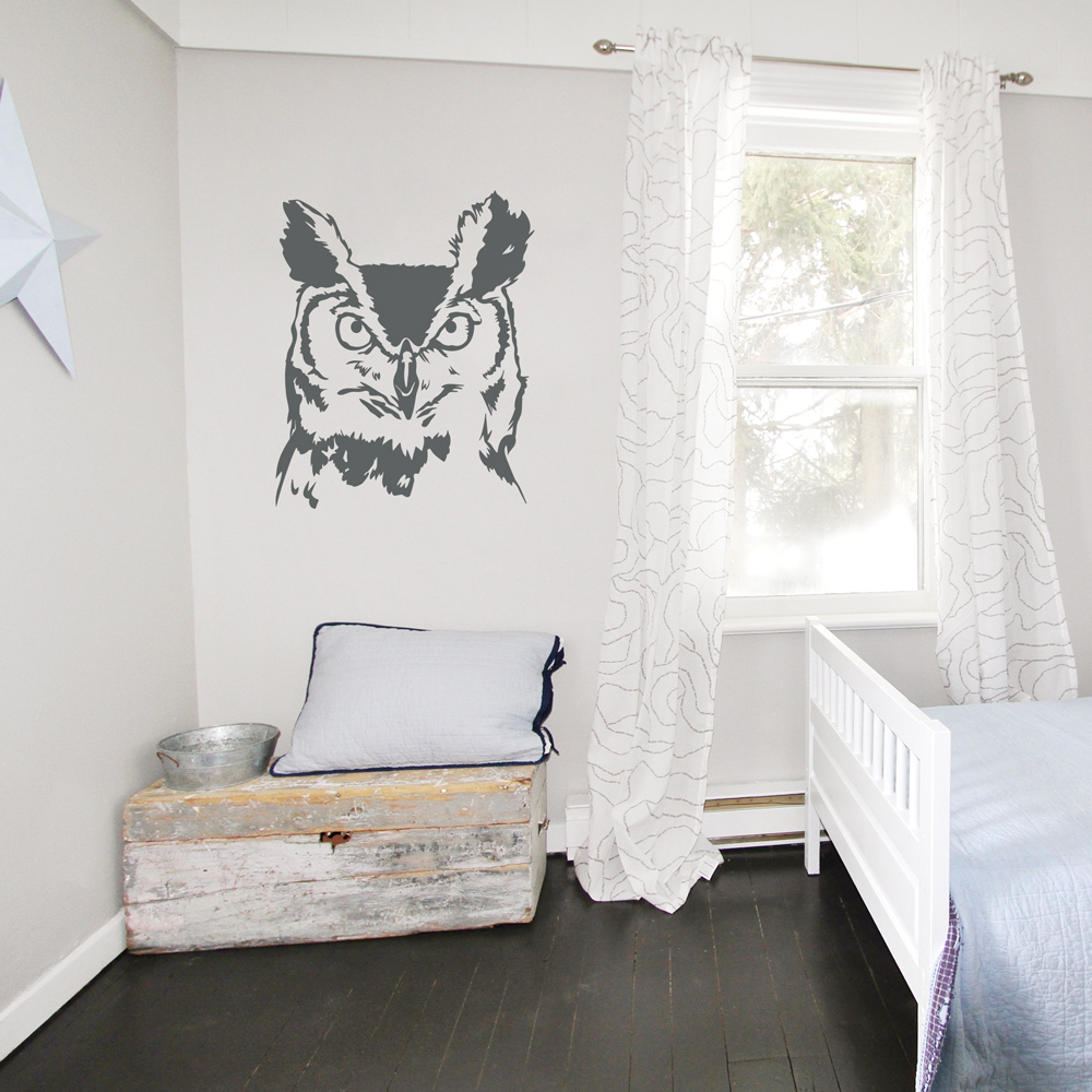Serious owl wall decal amipublicfo Image collections