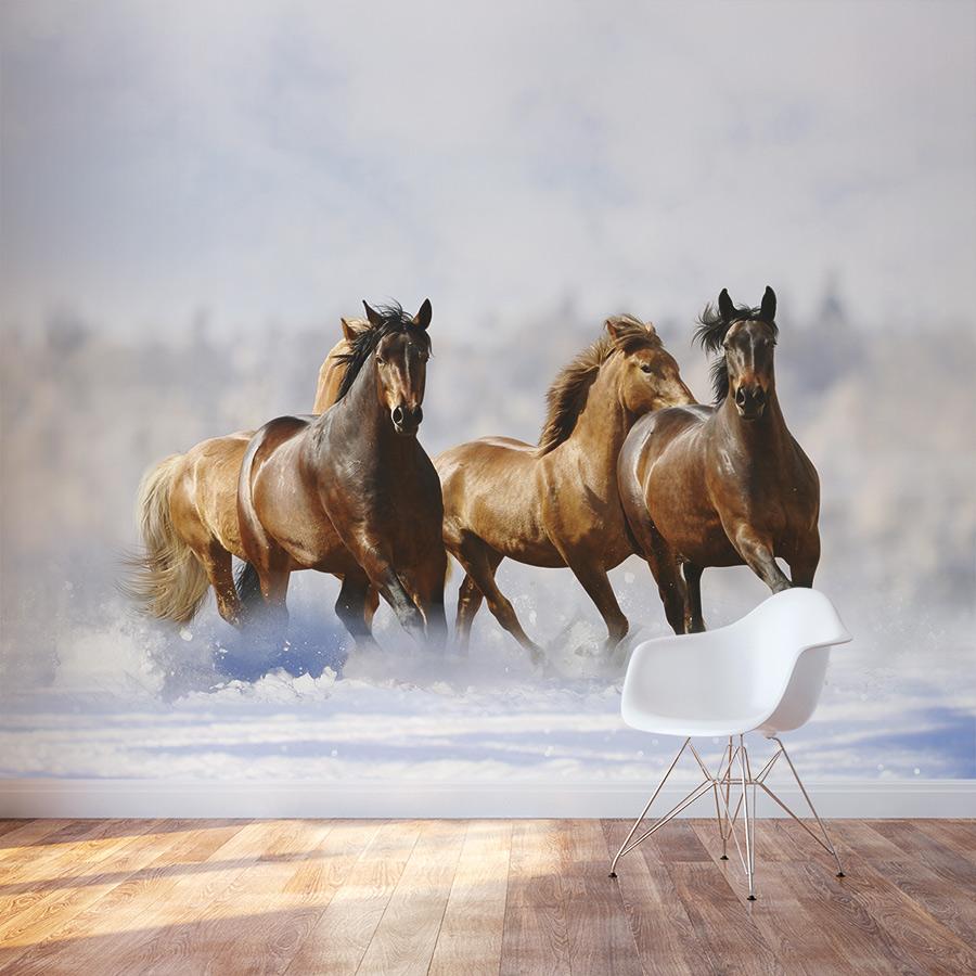 Winter Horses Wall Mural