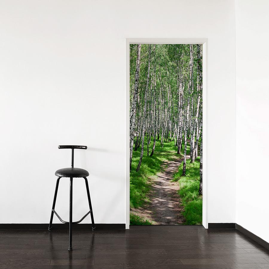 Birch path door mural for Door wall mural