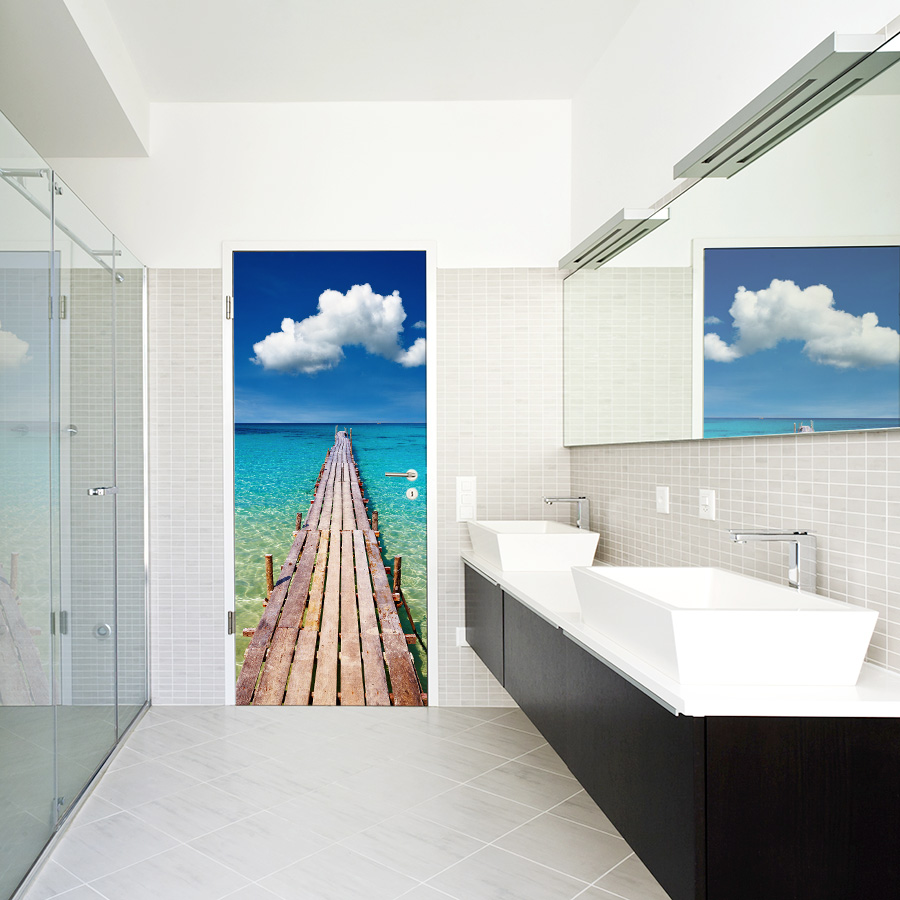 Caribbean pier door mural for Bathroom wall mural
