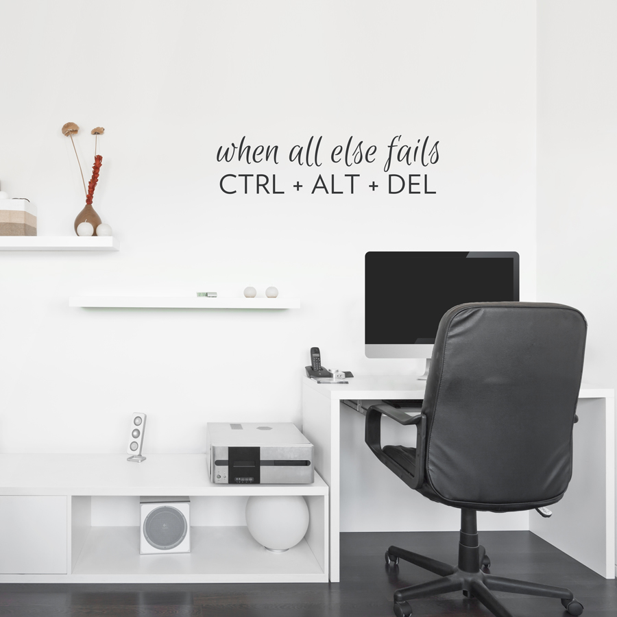 ctrl alt del wall decal quote