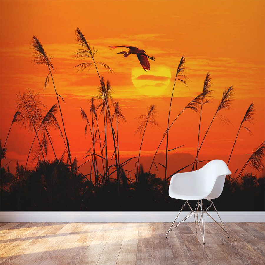 heron reed sunset wall mural wall murals of sunset and sunrise