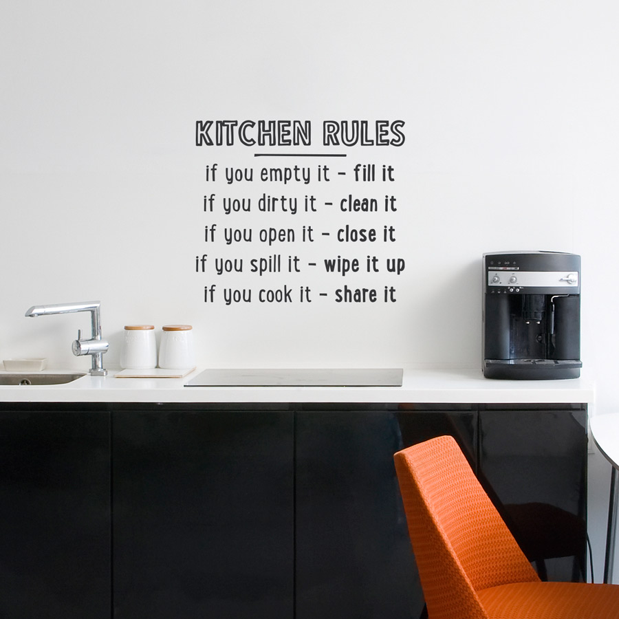 Kitchen Tidy Kitchen Rules Wall Quote Decal