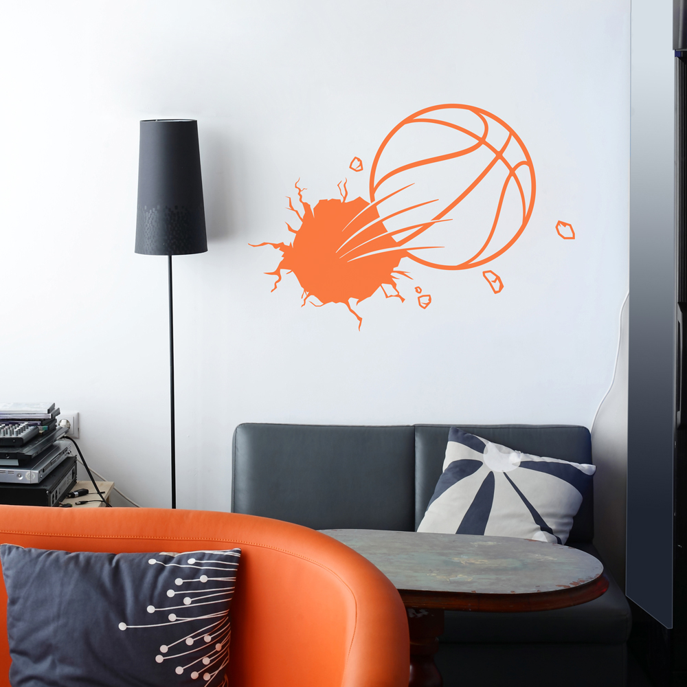 Basketball wall decals basketball lines with basketball for Basketball wall decals