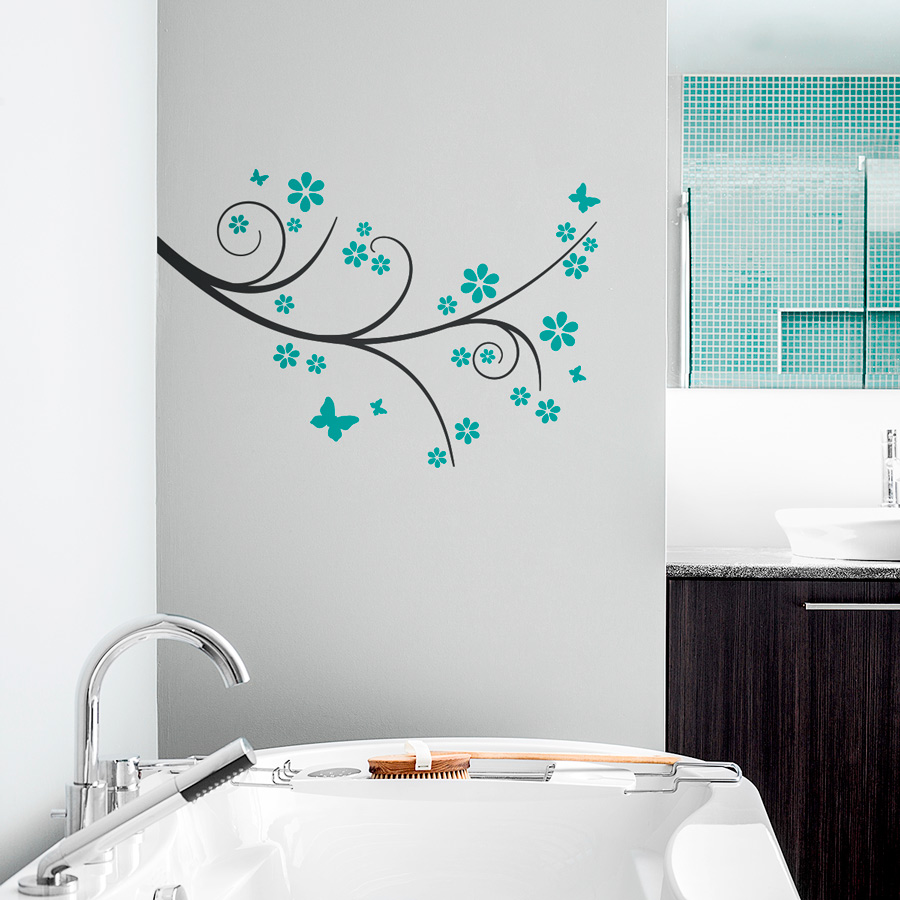 Marvelous Butterfly Flower Branch Wall Decal Part 15