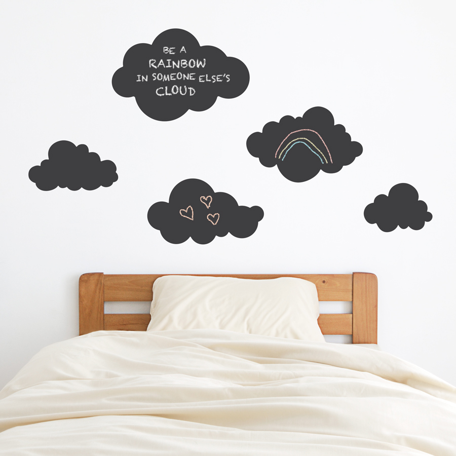 chalkboard clouds wall decal -