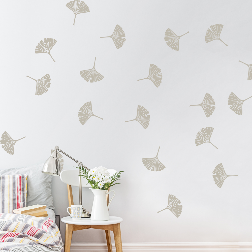 Delicate Ginkgo Leaves Wall Decal - Wall decals leaves