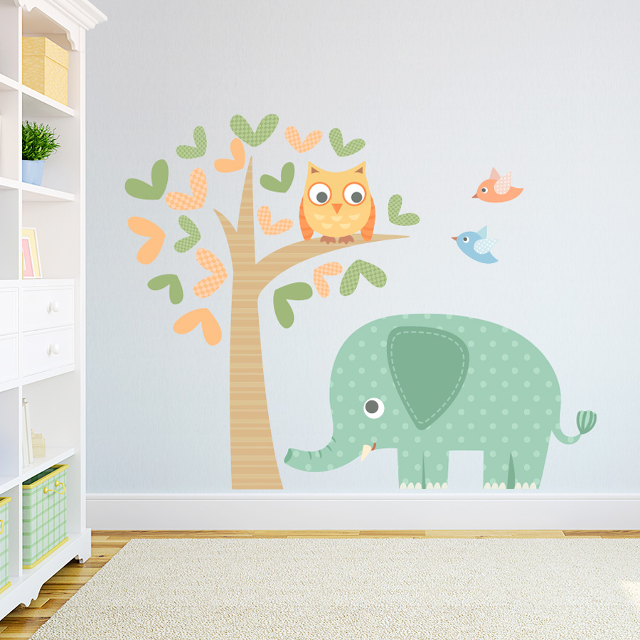 Elephant And Owl Printed Wall Decal - Elephant wall decals