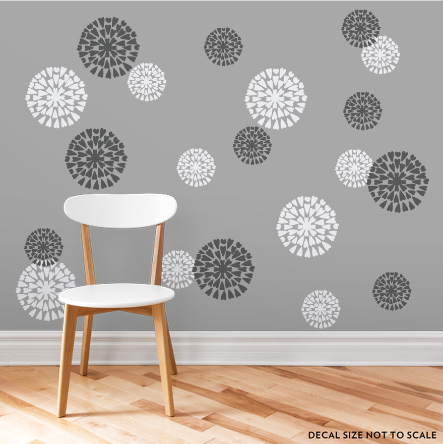 [CLEARANCE] White And Dark Grey Mum Flowers Wall Decal ...