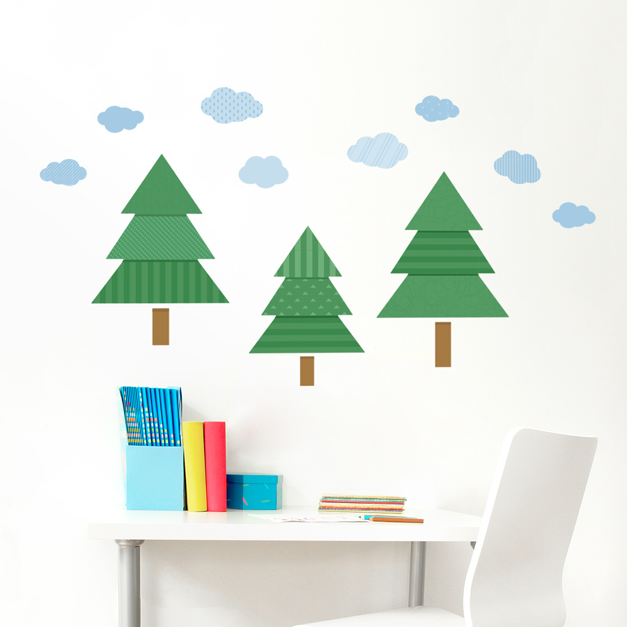 pattern pines printed wall decal pattern pines tree printed wall decal