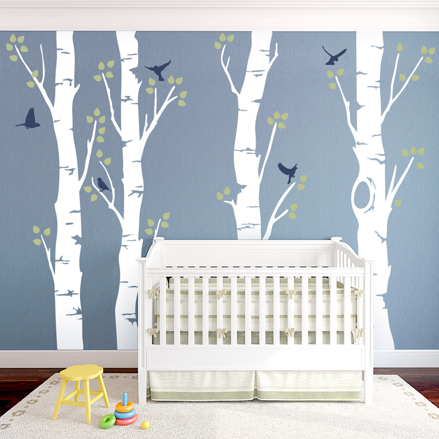 Delicieux Wide Birch Trees Wall Decal