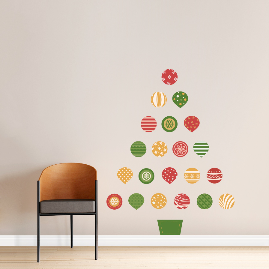 Genial Christmas Ornament Tree Standard Printed Wall Decal ...