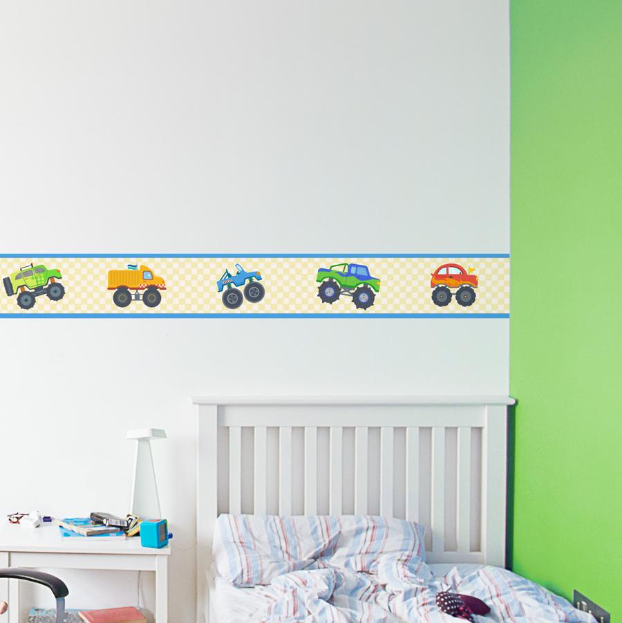 Monster truck removable border for Temporary wallpaper border