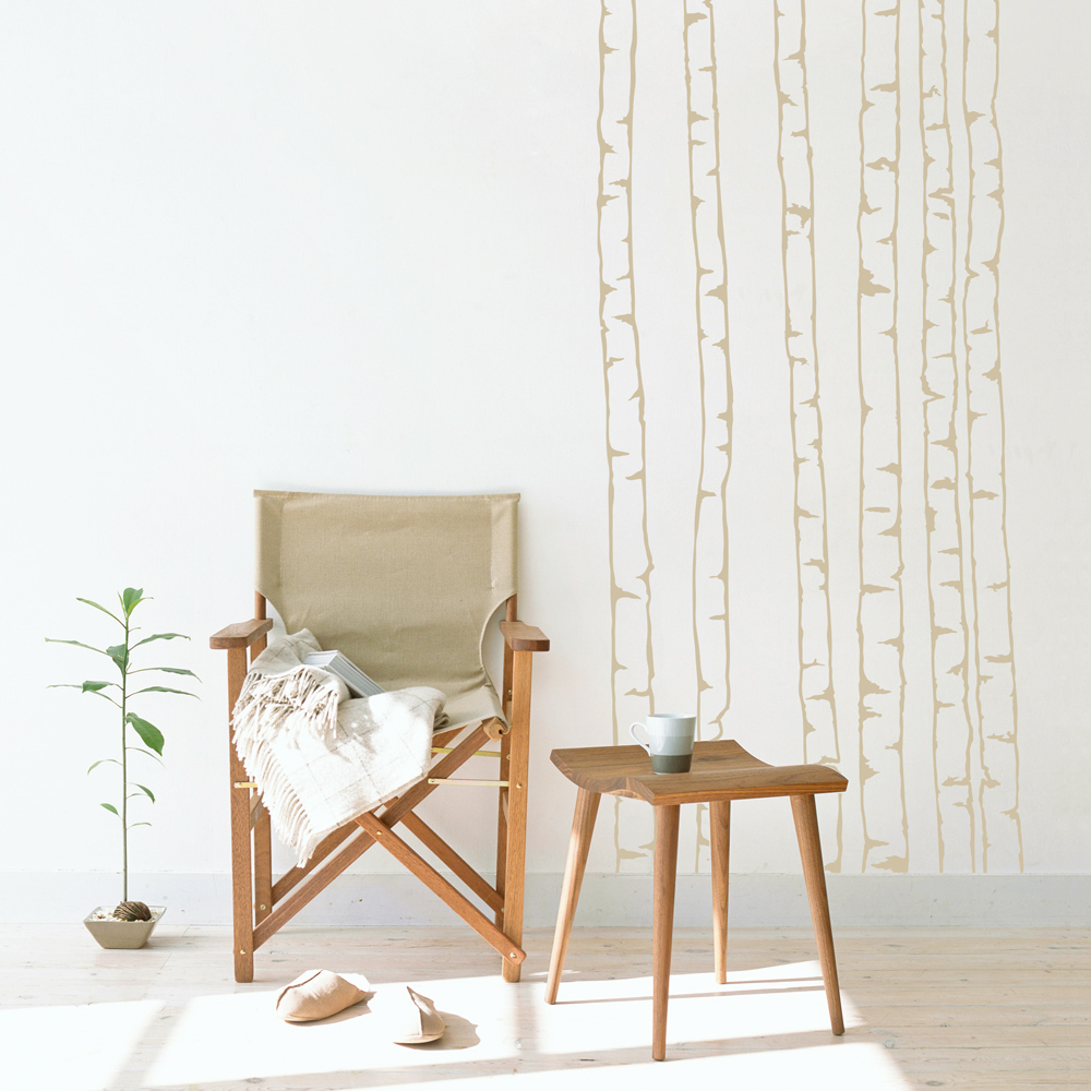 birch tree outlines wall decal