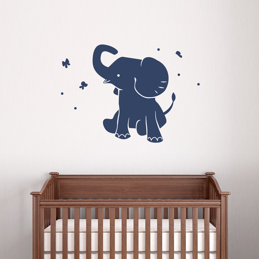 Baby Elephant Wall Decal - Nursery wall decals elephant