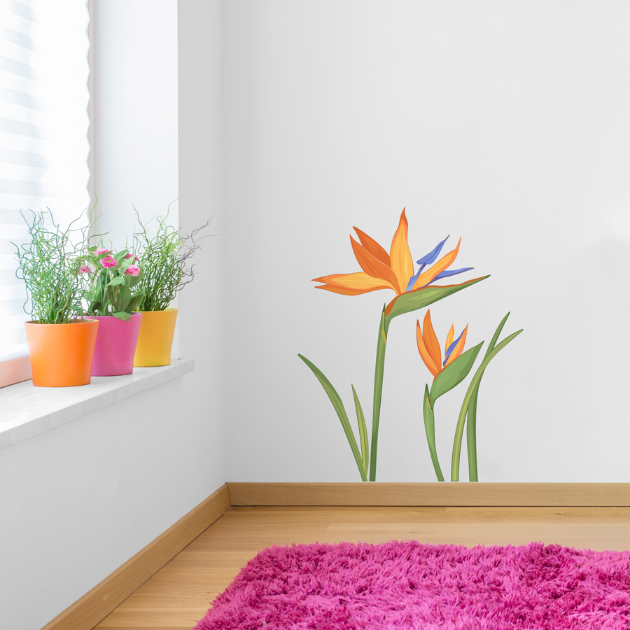 Birds Of Paradise Flower Printed Wall Decal - Custom vinyl wall decals flowers