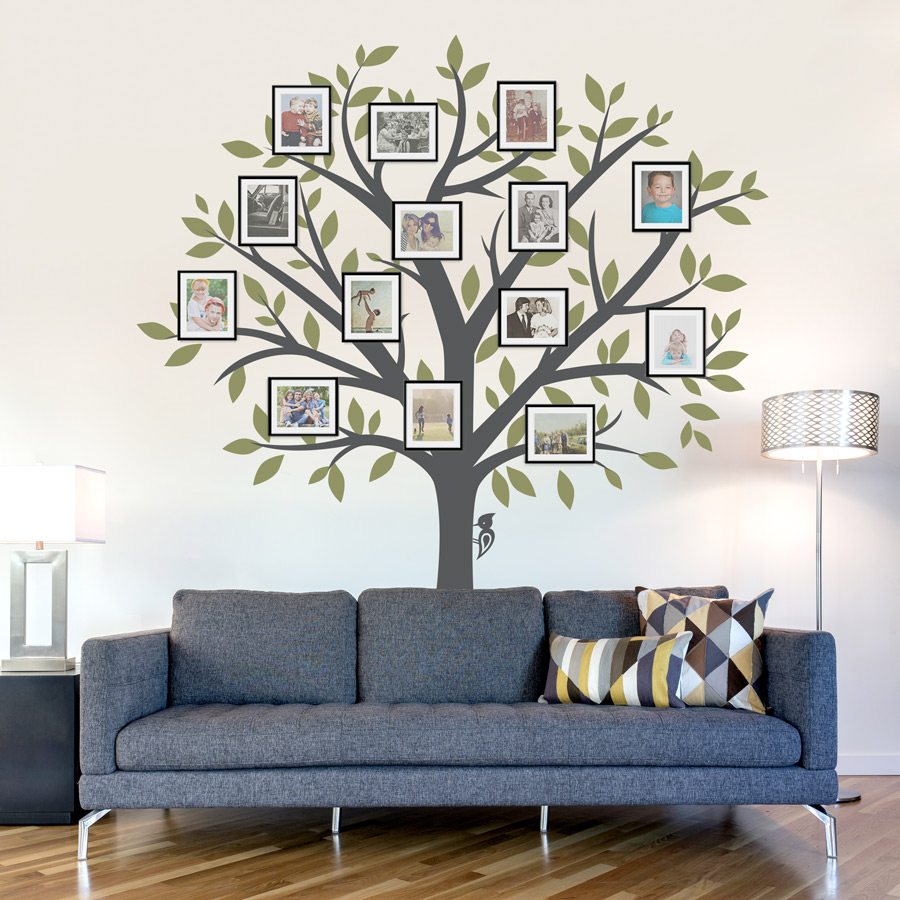 Large family tree wall decal for Cadre multi photos mural