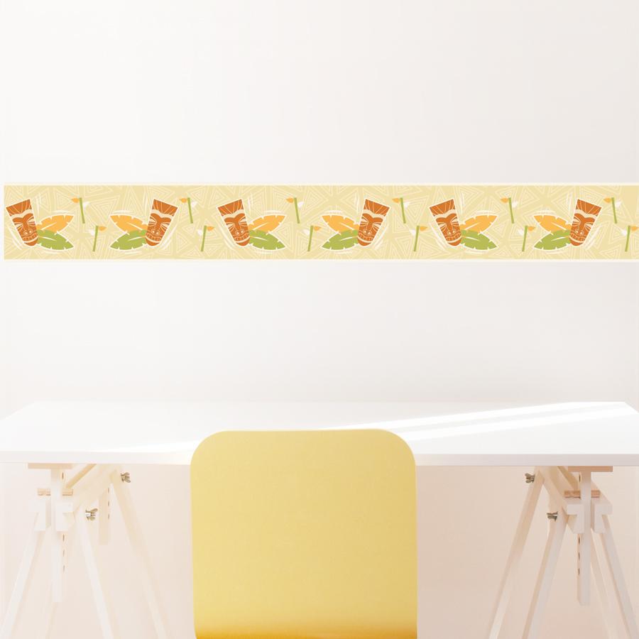 Tiki removable border for Temporary wallpaper border
