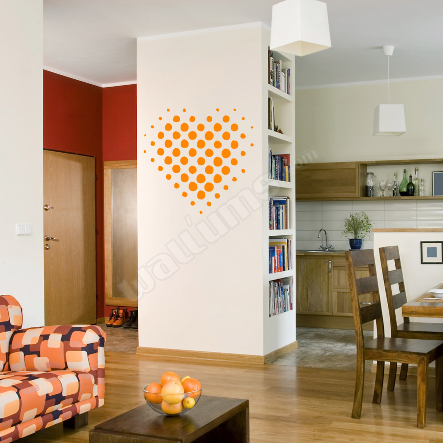 Wallums Wall Decals - Halftone Heart Wall Art Decal - Valentine's Day Decor Idea