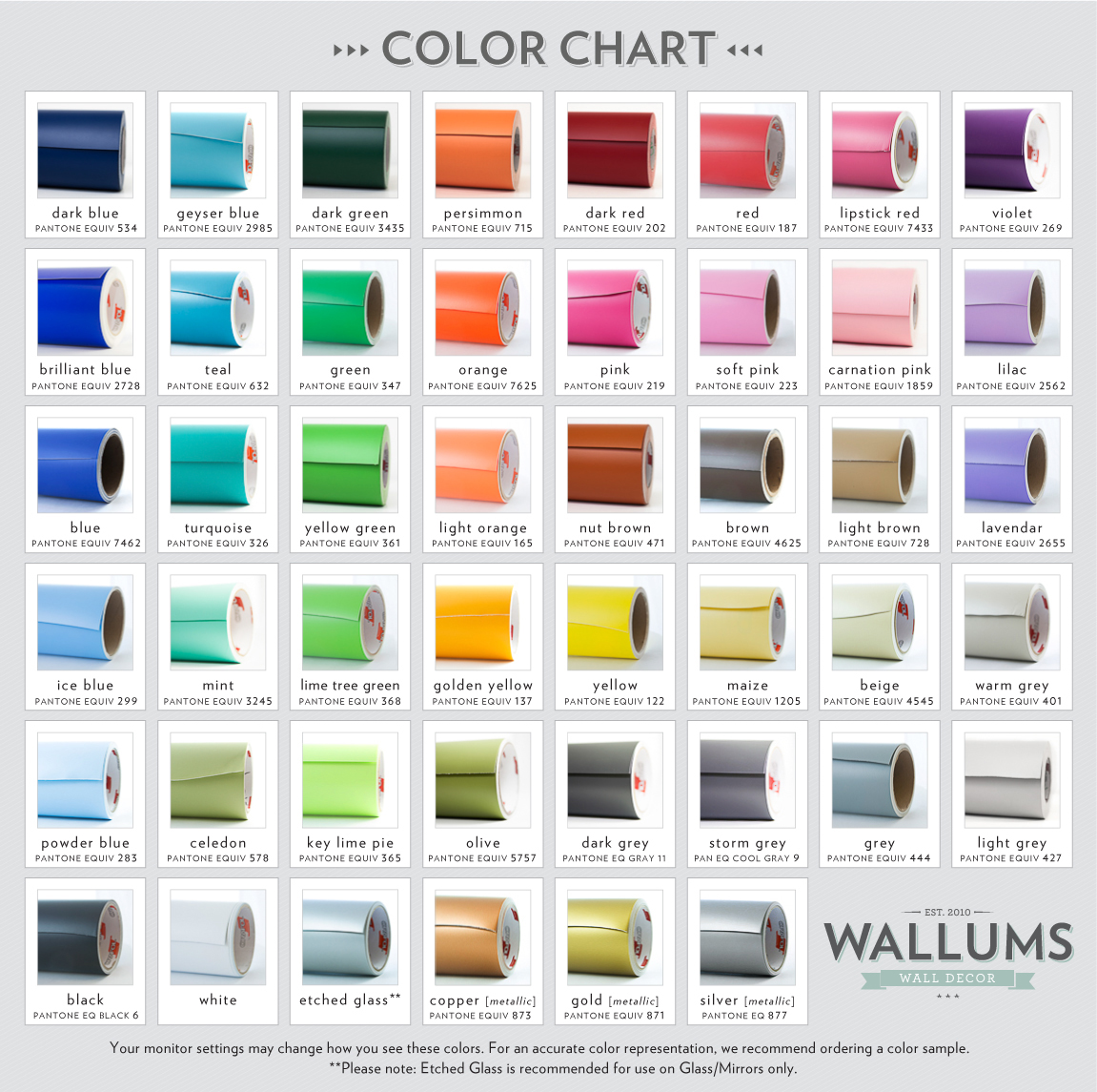 Wallums Wall Decal Color Options