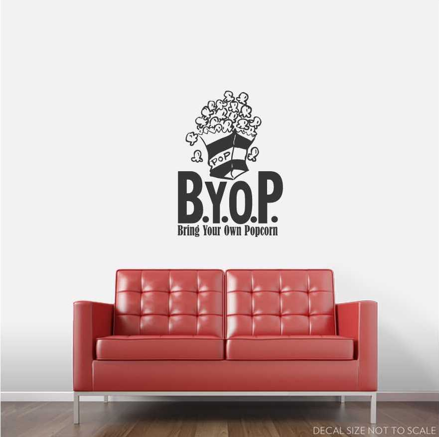 B.Y.O.P. Bring Your Own Popcorn Wall Art Decals