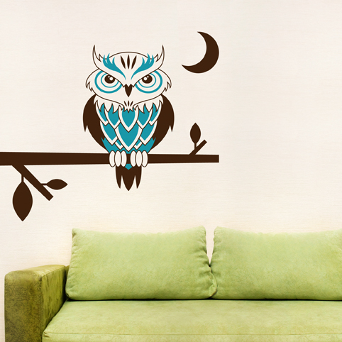Good Night Owl On A Branch Wall Decal Sticker