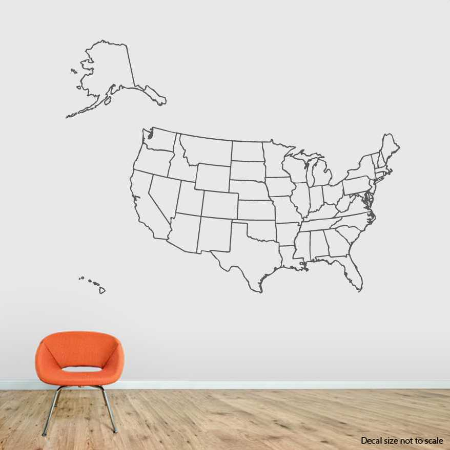United States Map Wall Decal USA Wall Sticker Wallums - Us map wall decal