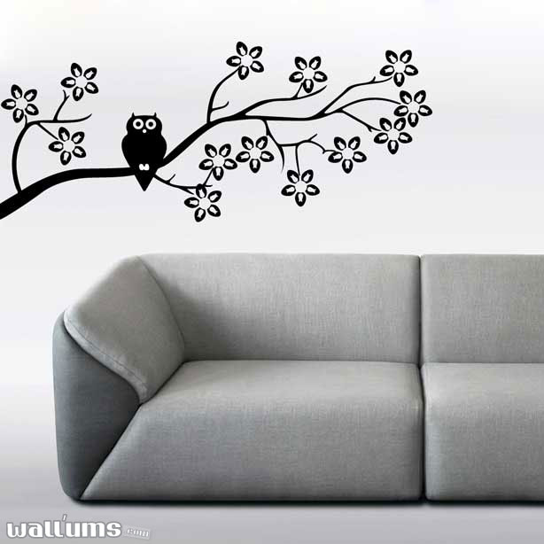 Cute Owl On A Branch Wall Decal Sticker
