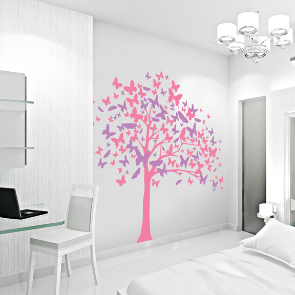 Beautiful Butterfly Tree Wall Decal | Butterfly Wall Art Sticker