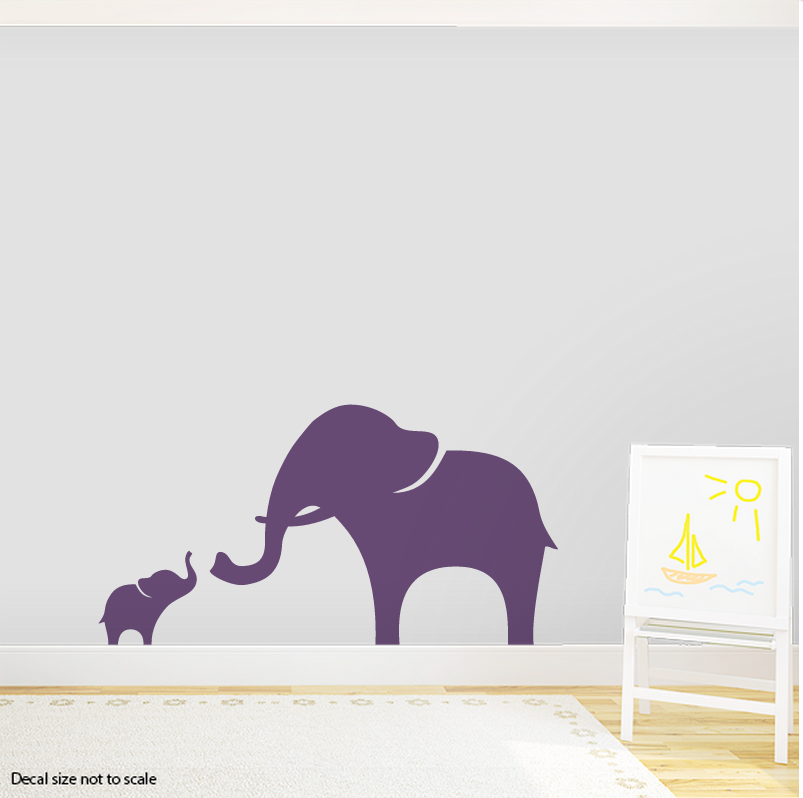 Mama And Baby Elephant Wall Decal | Elephant Wall Art Sticker