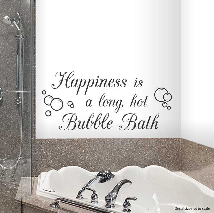 Bath Quotes | Happiness Is A Long Hot Bubble Bath Wall Quote Decal Wallums