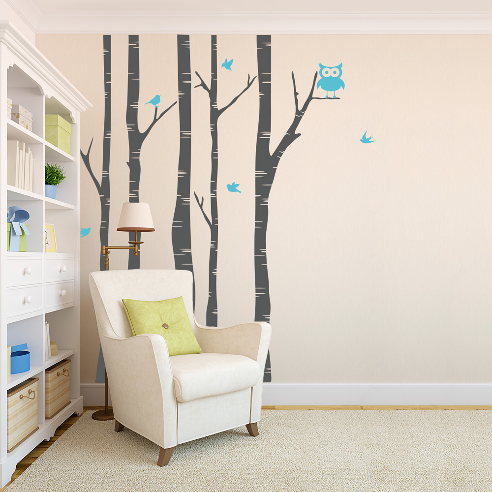 Birch Tree Wall Decal With Birds | Tree And Owl Wall Decal