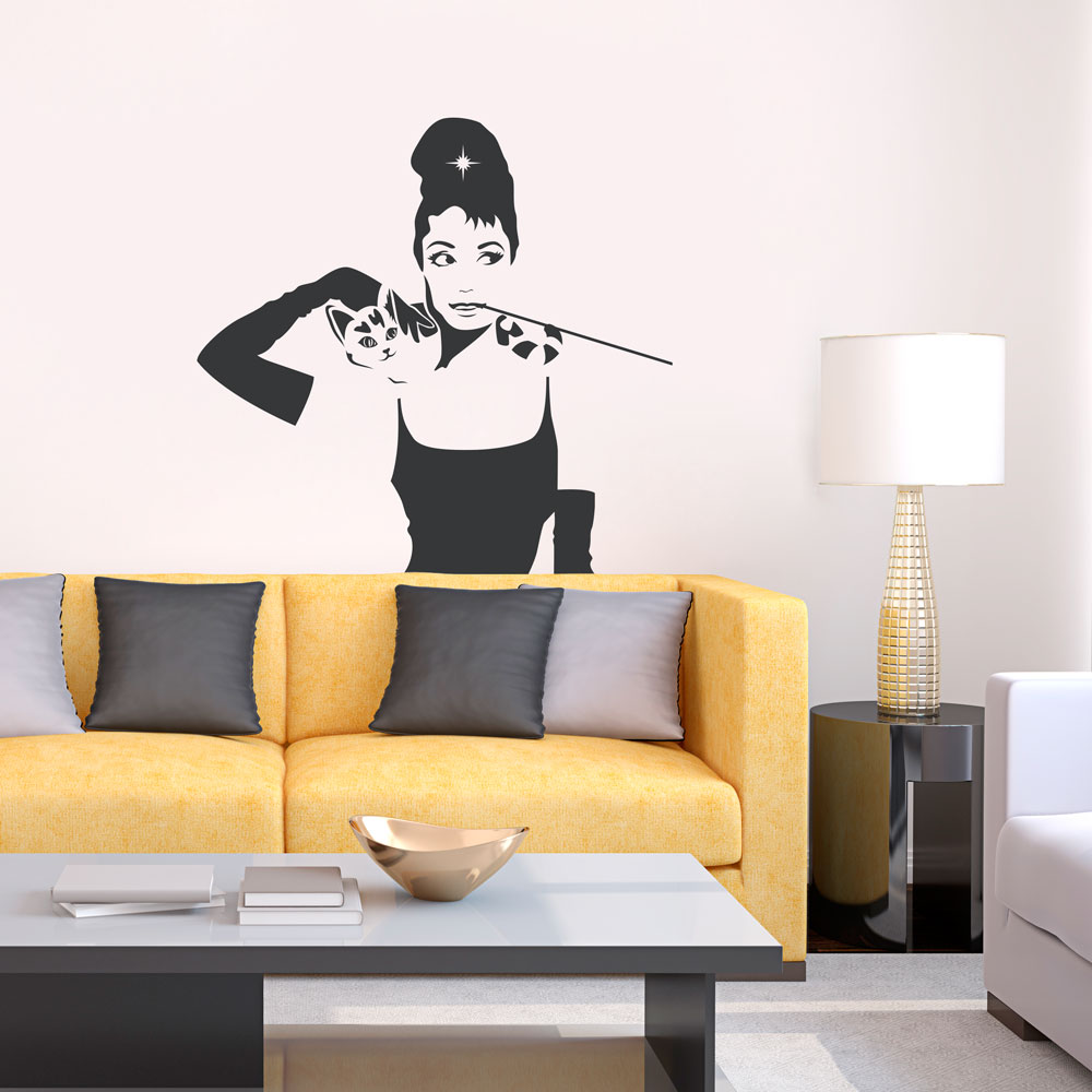Breakfast At Tiffanys Holly Cat Wall Decal