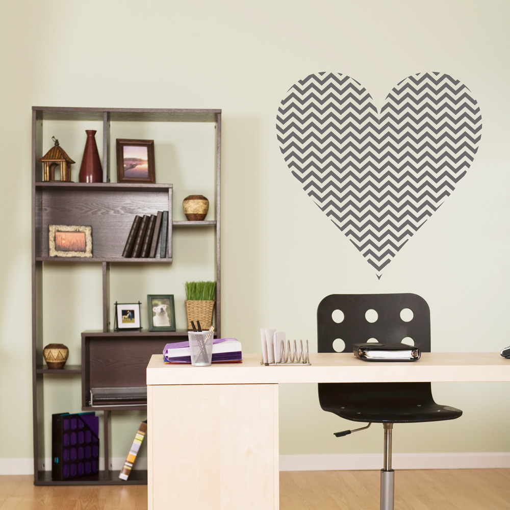 High Quality Chevron Heart Wall Decal