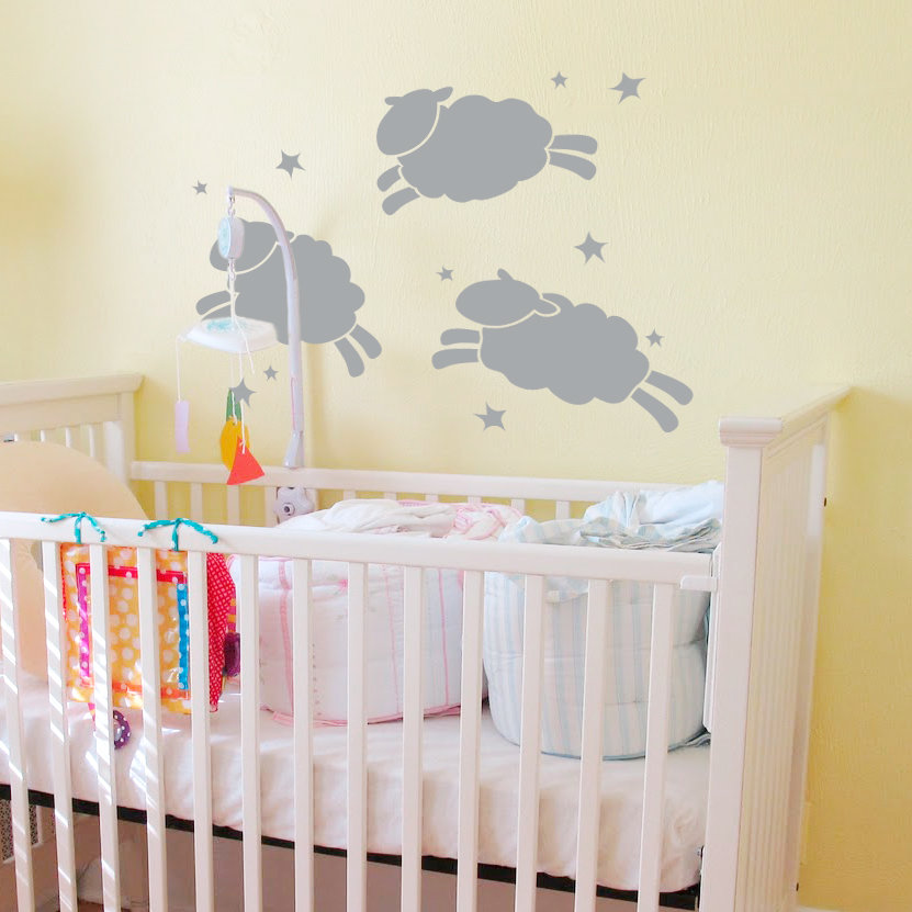 Jumping sheep and stars nursery wall decal