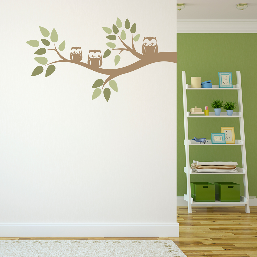 Three Owls On A Branch Wall Decal