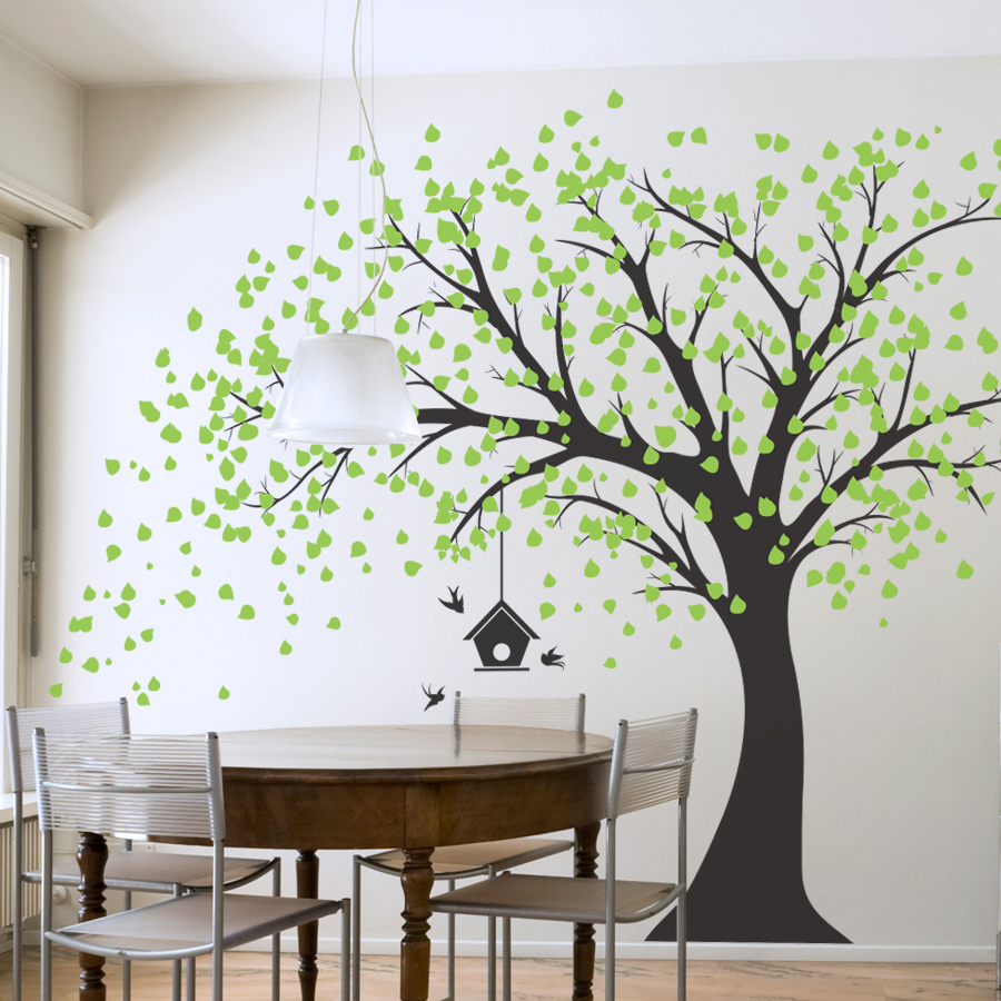Attractive Large Windy Tree With Birdhouse Wall Decal